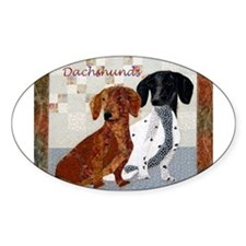 Quilted Dachshunds Oval Decal