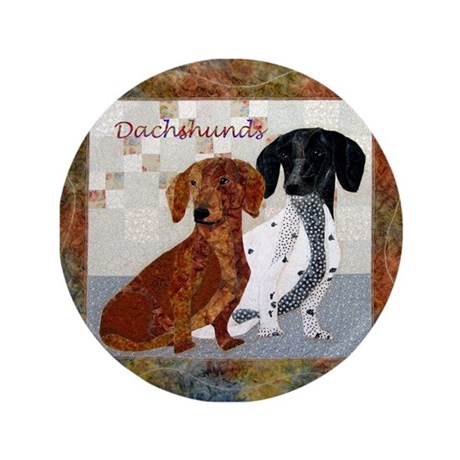"""Quilted Dachshunds 3.5"""" Button"""