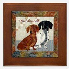 Quilted Dachshunds Framed Tile