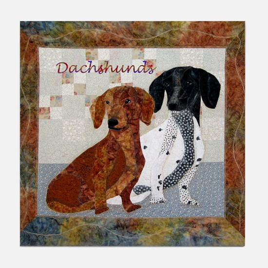 Quilted Dachshunds Tile Coaster