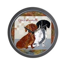 Quilted Dachshunds Wall Clock