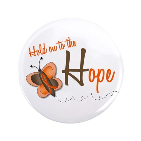 """Hold On To Hope 1 Butterfly 2 ORANGE 3.5"""" Button"""