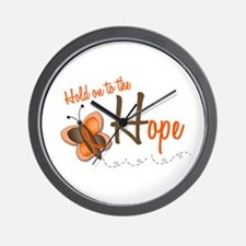 Hold On To Hope 1 Butterfly 2 ORANGE Wall Clock
