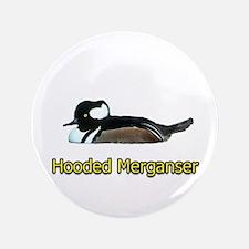 """Hooded Merganser (titled) 3.5"""" Button"""