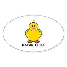 Kayak Chick Oval Decal