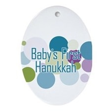 Dots Baby's First Hanukkah Oval Ornament