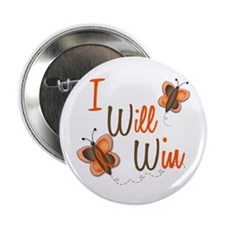 "I Will Win 1 Butterfly 2 ORANGE 2.25"" Button"