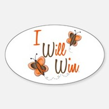 I Will Win 1 Butterfly 2 ORANGE Oval Decal