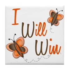 I Will Win 1 Butterfly 2 ORANGE Tile Coaster