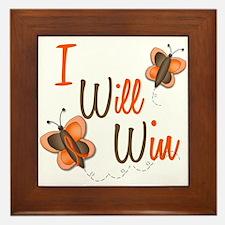 I Will Win 1 Butterfly 2 ORANGE Framed Tile