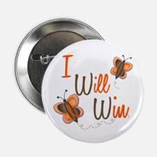 """I Will Win 1 Butterfly 2 ORANGE 2.25"""" Button (10 p"""