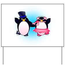 Penguin Pair Skate Yard Sign