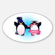 Penguin Pair Skate Oval Decal