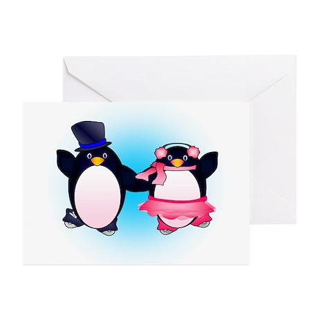 Penguin Pair Skate Greeting Cards (Pk of 10)