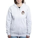 Red Hockey Penguin Women's Zip Hoodie