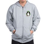 Green Hockey Penguin Zip Hoodie