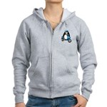 Blue Scooter Penguin Women's Zip Hoodie