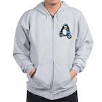 Blue Scooter Penguin Zip Hoodie