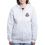 Burgundy Cheerleader Penguin Women's Zip Hoodie