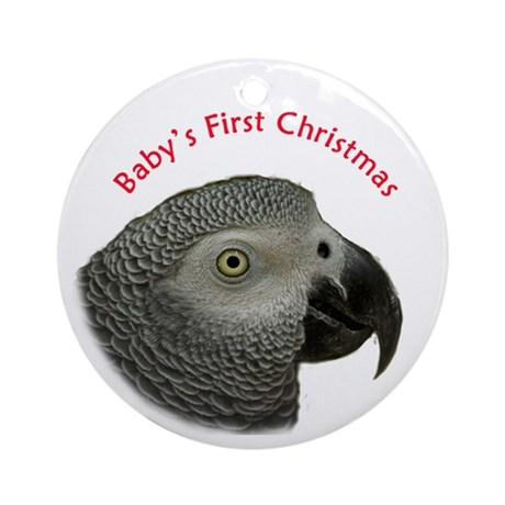 African Grey Parrot Baby's 1st Christmas Ornament