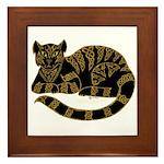 Knot Striped Black Cat Framed Tile
