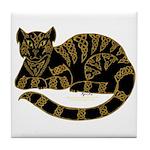 Knot Striped Black Cat Tile Coaster