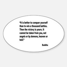 Buddha Conquer Yourself Quote Oval Decal