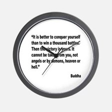 Buddha Conquer Yourself Quote Wall Clock