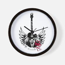 Black Winged Guitar Wall Clock