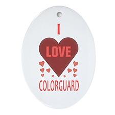 I Love Colorguard Oval Ornament