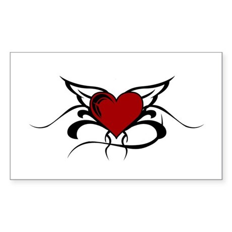 Winged Heart Rectangle Sticker
