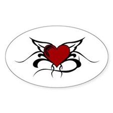 Winged Heart Oval Decal