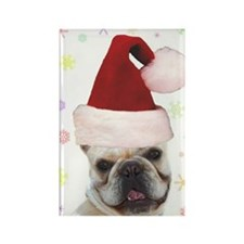 Christmas French Bulldog Rectangle Magnet