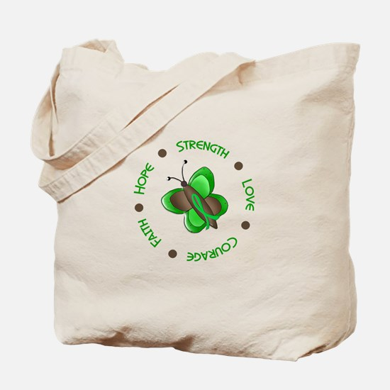 Hope Courage 1 Butterfly 2 GREEN Tote Bag