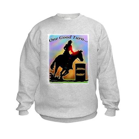 One Good Turn Barrel Racer Kids Sweatshirt