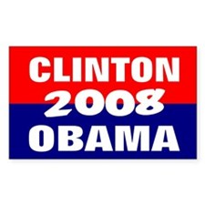 clinton obama in 2008 Rectangle Decal