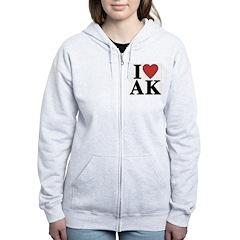 I Love Alaska Zip Hoodie