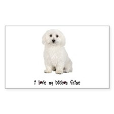 I Love My Bichon Frise Rectangle Decal