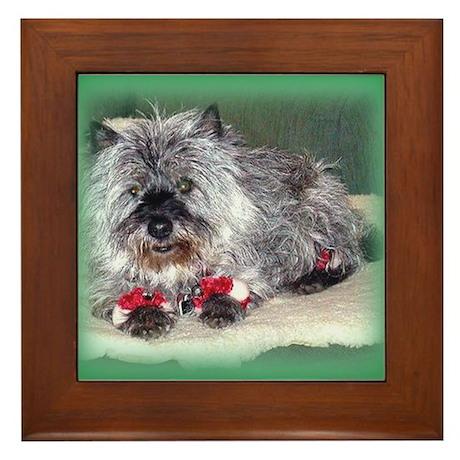 """Santa Claws"" Cairn Terrier Framed Tile"