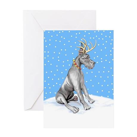 Great Dane Deer Black Greeting Card
