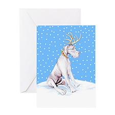 Great Dane Deer White UC Greeting Card