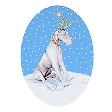 Great Dane Deer White UC Oval Ornament