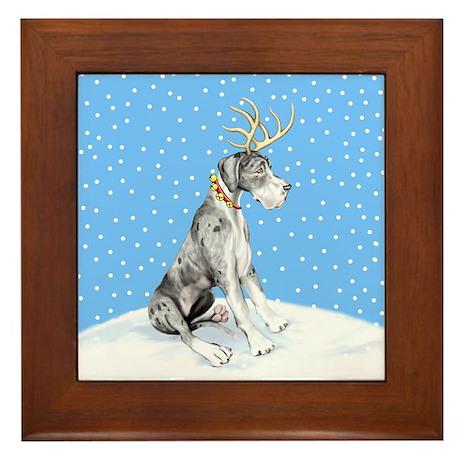 Great Dane Deer Merle UC Framed Tile