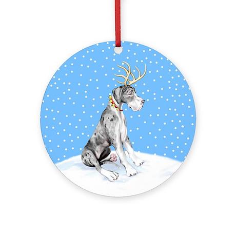 Great Dane Deer Merle UC Ornament (Round)