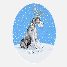 Great Dane Deer Merle UC Oval Ornament