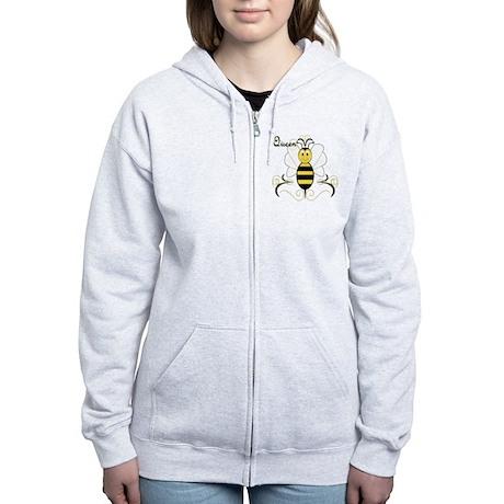 Smiling Bumble Bee Queen Bee Women's Zip Hoodie
