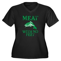 Meat With No Feet Women's Plus Size V-Neck Dark T-