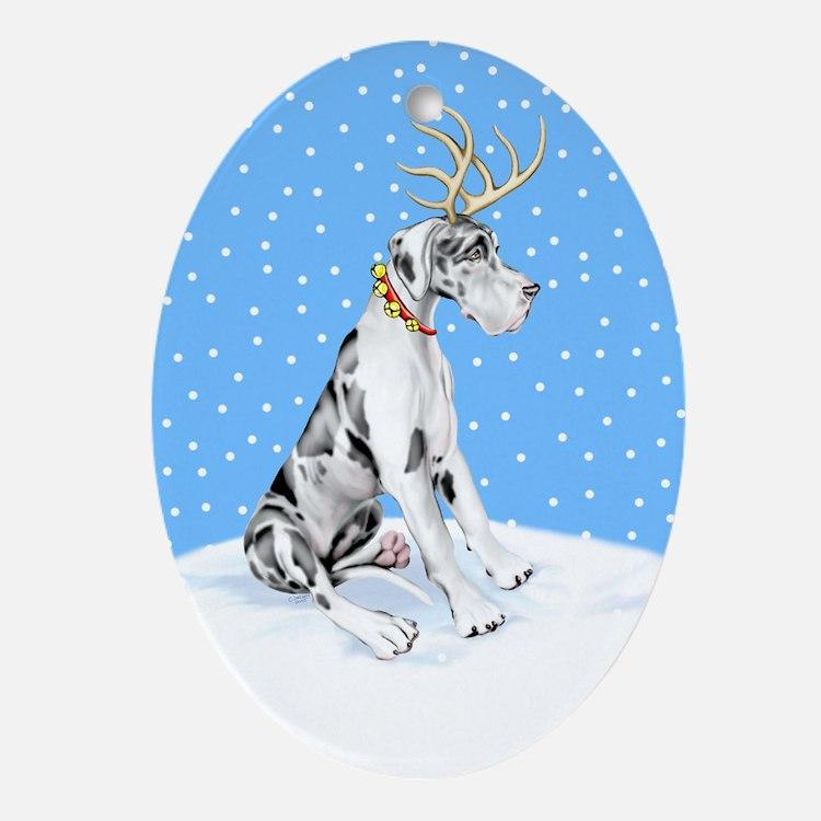 Great Dane Deer Harle UC Oval Ornament