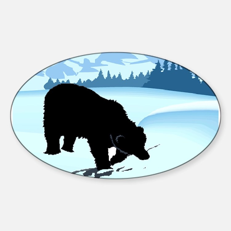 Black Bear in Snow Oval Decal