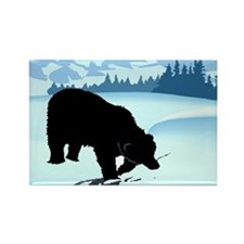 Black Bear in Snow Rectangle Magnet